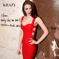 Krazy fashion the queen sexy low-cut V-neck cutout big racerback slim hip slim dress 725