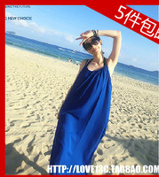 2013 summer beautiful navy blue halter-neck spaghetti strap full dress beach dress bohemia dress full