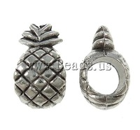 Free shipping!!!Zinc Alloy European Beads,Wholesale Jewelry, Pineapple, antique silver color plated, without troll, nickel