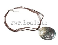 Free shipping!!!Shell Necklaces,australian, with Cotton Cord, brass lobster clasp, Flat Round, multi-strand, 54x2mm