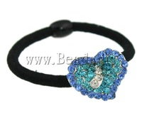 Free shipping!!!Ponytail Holder,2013 new arrive mens, Zinc Alloy, Heart, with rhinestone, 24x19x9.50mm, Length:6 Inch