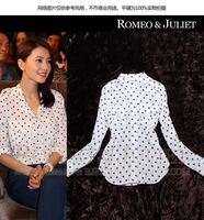 High Street Fashion Beautiful Women Polka Dot Shirts Blouses Tops 2013 New Summer Autumn