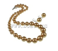 Free shipping!!!South Sea Shell Jewelry Sets,Jewelry Fashion, earring & necklace, Round, golden, 8-16mm, 14x35mm