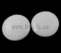 Free shipping!!!Solid Color Acrylic Beads,Inspirational, Flat Round, white, 25x8mm, Hole:Approx 2mm, 156PCs/Bag, Sold By Bag