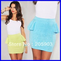 Free shipping 2013 Women Fashion Skirt Wholesale 12pcs/lot Lime Green Floral Embossed Accent Peplum Skirt 71055