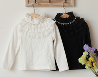 2013 spring autumn new design Girls lace pearl long sleeve T-shirt Lotus leaf edges fashion beautiful wholesale freeshipping