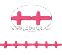 Free shipping!!!Turquoise Beads,Brand, Synthetic Turquoise, Cross, painting, fluorescent, pink, 22x30x6mm, Hole:Approx 1.5mm