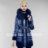 Free shipping EMS 2013 new Large fox fur down coat long slim design women's luxury warm outerwear with fashion design patchwork