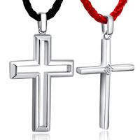 925 pure silver necklace lovers cross pendant fashion male Women