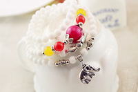 Natural crystal white elephant fossils bracelet handmade beaded multi-layer crystal bracelet