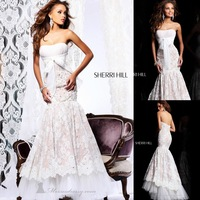 Strapless Appliques Beading Ribbons Backless Floor Length Elegant Evening Gown Sexy Prom Dresses New Fashion 2013