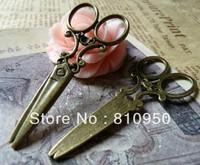 50pcs 25x60mm Antique Bronze/silver Alloy Vintage scissors Charms Pendant diy fashion punk accessory