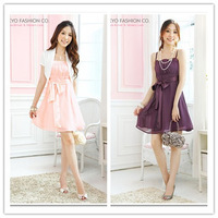 2013 summer romantic ribbon dress chiffon dress spaghetti strap one-piece dress