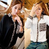 Ladies Womens Leopard Print Pocket Long Sleeve Chiffon Blouse Shirt Tops Free Shipping