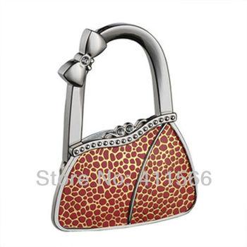 Free shipping 1 PC Fashion Originality Cute Red Bag Shape Design Handbag Folding Bag Purse Hook Hanger Holder For Girls Gift NEW