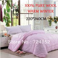 High Quality 100%wool filler quilted bedspread size KING 220*240 CM  wool filler of patchwork bedspread/quilt/comforter/3kg,Pink