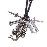 Scorpio  man  pendant necklace big sale item  vintage man leather necklace