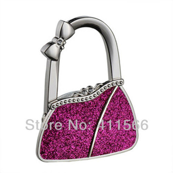 NEW Arrived 1 PC Fashion Originality Classic Purple Bag Shape Design Handbag Folding Bag Purse Hook Hanger Holder For Girls Gift