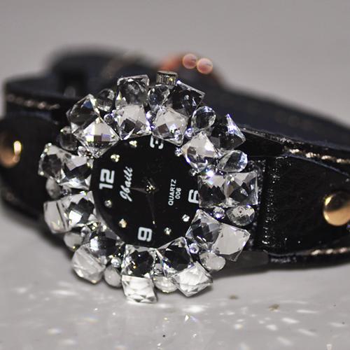 NANAZI leather leather strap flash full diamond diamond drilling big dial fashion watch gift delivery(China (Mainland))