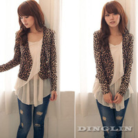 2014 Autumn New Women's Ladies Leopard Long Sleeve Open Front Knit Cropped Top Casual Jacket Blouse Cardigan Free Shipping 0958