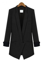 Free Shipping 2013 New Fashion Black Lapel Long Sleeve Slim Pockets Blazer For Women, Hot Sale!