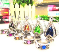 Japan Anime Puella Magi Madoka Magica Soul Gem Pendant Necklace & Rings set 5 colors