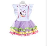 2013 new hello kitty dress summer clothing flower girl's cake dresses kid's ball gown children's clothes
