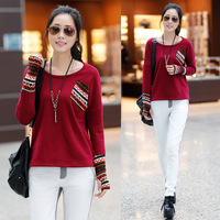 SXE Tx540 2013 female o-neck patchwork long-sleeve plus velvet thickening loose r basic sweatshirt  Free shipping