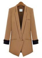 New Branded Women Clothing Winter 2014 Fashion Business Formal Suits Office Desigual Camel Lapel Long Sleeve Slim Pockets Blazer