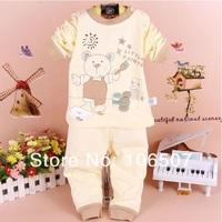 2pcs 100% cotton  long 0-3 years old Children spring Autumn winter Baby clothing sets Underwear Kids Sleepwear BSL hot selling