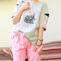 896 HARAJUKU skull zipper ice cream cat t-shirt trend loose short-sleeve t-shirt
