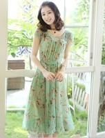 fashion dress women's sweet  beach dress short-sleeve chiffon one-piece dress summer plus size dress