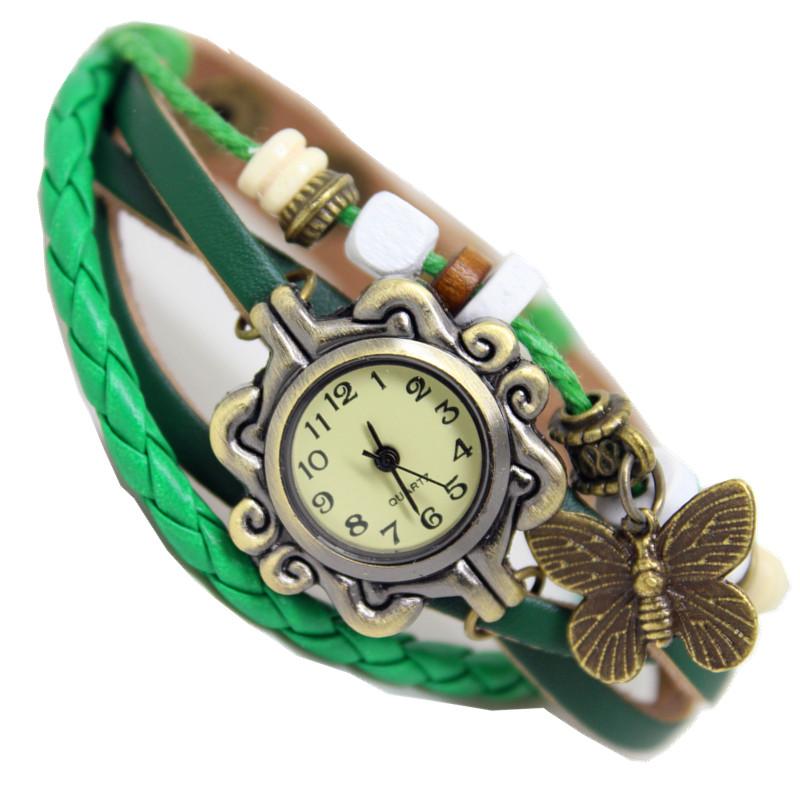 Baño One Piece Trebol:Mariposa trébol de cuatro hojas- vintage reloj pulsera reloj pulsera