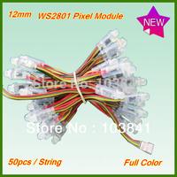 Wholesale 12mm WS2801 pixel module string advertising RGB LED strip light,DC5V full colour Decorative Lighting strand 200pcs/lot