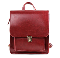 Solid color oil skin backpack preppy style fashion vintage bag all-match backpack color block female casual bags