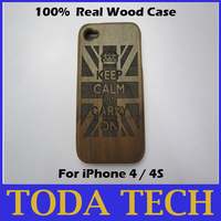 Keep Clam & Carry On - 100% real walnut wood hand-carved case for iPhone 4/4S free shipping