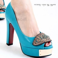New arrival fashion brief platform high-heeled shoes shallow mouth women's thick heel beaded open toe shoe