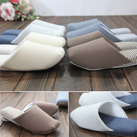 Muji high quality cloth-soled 100% cotton lovers home spring and autumn soft outsole wood floor slippers