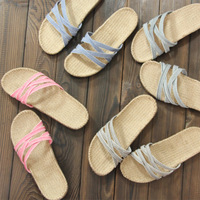 Home spring and autumn summer lovers indoor soft outsole tiles floor sandals linen slippers