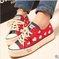 2013 women's low canvas shoes heart decoration paltform lacing casual shoes female shoes