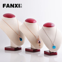 Free Shipping Fashionable Beige Necklace Standing Bust Display Beautiful Design with Red Paint