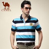 Camel camel men's clothing T-shirt 2013 summer casual male short-sleeve stripe slim turn-down collar