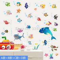 Free shipping cute cartoon fish waterproof bathroom tile bathroom wall stickers bedroom refrigerator Underwater World