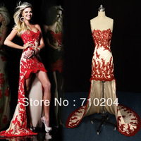2014 new arrivals front short long back lace appliques evening dress actual photos D16
