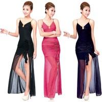 Fashion design long evening dress ds costume dance ktv work wear