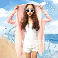 Sun protection clothing long-sleeve transparent thin female long design sun protection clothing cardigan 1