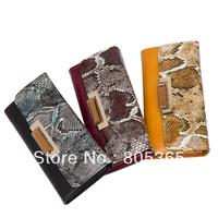 Fashion Occident  Serpentine long size clutch PU leather women Wallet Ladies Purse girl Handbag drop shipping