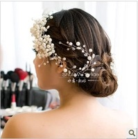 Free Shipping! White All-match Pearl Handmade Bridal Hair Flower Wedding Hair Accessories TH176