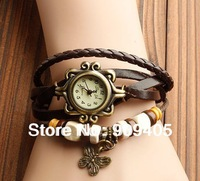 High Quality Women Genuine Leather Vintage Watch bracelet Wristwatches 100pcs/lot dhl free shipping