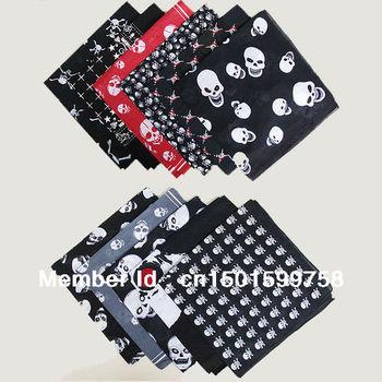 free shipping! 10pcs Skull Print 100% Cotton Bandanas head wrap scarf wrist band FREE SHIPPING